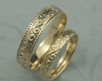 Solid 14K Yellow Gold Flourish Wide Wedding Band Set--Swirl Patterned His and Hers Wedding Rings--Custom Hand Made Wedding Bands