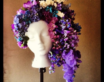 Cascading Purple and Blue flower headpiece