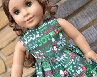 18 inch Doll Clothes - Christmas Dress - Holiday Greetings - green white red - fits American Girl