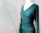 Organic jersey wrap top,  pick your color, handmade organic clothing, wraparound shirt, handmade tunic top