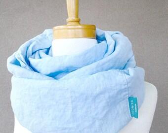 Linen infinity scarf  wrap neck warmer in cerulean blue / ice blue