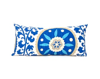 Blue Suzani Indoor Outdoor Pillow -  Blue Outdoor Pillow - Small Blue Pillow