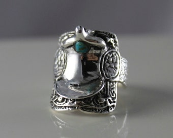 Sterling Sliver Medium Size Saddle Ring with Turquoise