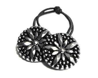 Silver Starburst Ponytail Elastic Hair Tie - Silver Starburst Pattern Hair Accessory , Vintage Glass Buttons Elastic Hair Tie