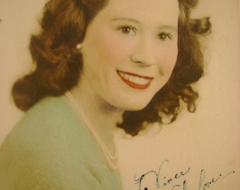 "Vintage 1940s Hand Colored Wartime Photograph ""To Vince With Love, Mom"""