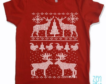Kids CHRISTMAS Sweater Print T-Shirt - American Apparel Sizes 2 4 6 8 10  12 - FREE Shipping