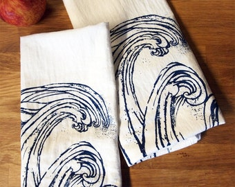 Set of 2 Towels - WAVE - Multi-Purpose Flour Sack Bar Towels - Renewable Natural Cotton