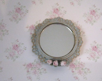 Mirror, round , small, duck egg blue, handpainted and decorated with  pink roses ,  edged with gold trims, twelfth scale miniature