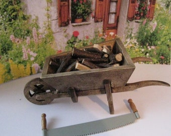 Dollhouse Country wheelbarrow , wheelbarrow, garden barrow, logs, mini logs ,, twelfth scale, dollhouse miniature