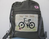 Canvas Backpack,  Bike Design, Gift for Bike Enthusiast,Gift for Traveler, Cotton Canvas , Army Green Backpack, Bike Bag,  Canvas Tote Bag