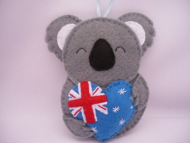 Felt Ornament / Koala Bear Ornament / Australia Heart by ...