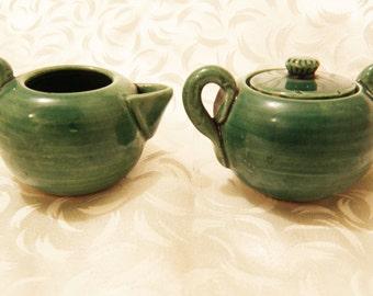 AWAJI Miniature Creamer and Lidded Sugar Green Japanese Pottery
