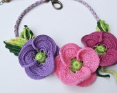 Crochet poppy statement necklace with kumihimo braid freeform OOAK