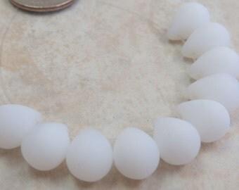 14x10mm Matte White Alabaster Czech Glass Teardrop Beads - Qty 10 (BS324)