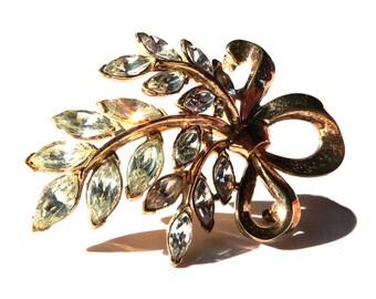 Crown Trifari Bow Brooch, Rhinestone & Vermeil Brooch, 1940s Jewelry Designer Alfred Philippe, Antique Swarovski Crystal Trifari Brooch