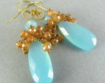 Aqua Chalcedony And Mystic Gold Quartz Cluster Earrings