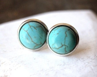 Turquoise Studs 12mm or 8mm Turquoise Stud Earrings STUD or CLIP small Turquoise Jewelry small Turquoise Clip on earrings E451