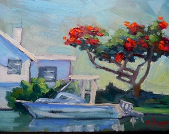 """Tropical Landscape, Small Oil Painting, Daily Painting, Retirement Dream by Carol Schiff, 6x8"""" Oil"""