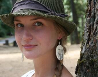 Mushroom Earrings- in Bone (MOD 29)- Woodland Earrings- Natural Jewelry