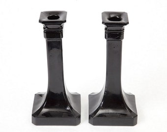 Two Vintage Black Glass Candle Holders
