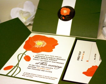 Orange Poppy Wedding Invitation, Green Pocketfold Suite, Floral Invite Set, Red Country Wedding Outdoor Destination Flower, Cheap Invitation
