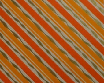 Vintage Gift Wrap All Occasion 1960s Wrapping Paper Orange, Tangerine and Gold Stripe One Sheet