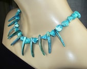 Turquoise Necklace Shell Pearl Choker Necklace Spear Shell Beach Necklace Resort Fashion