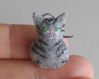 Gray miniature felt tiger cat plush stuffed animal