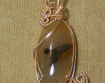 Natural Tan and Black AGATE Gemstone Gold Wire Wrap Necklace Pendant with FREE gold chain SALE
