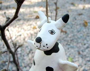 Angel Dog Bell Ornament Hand Sculpted Clay