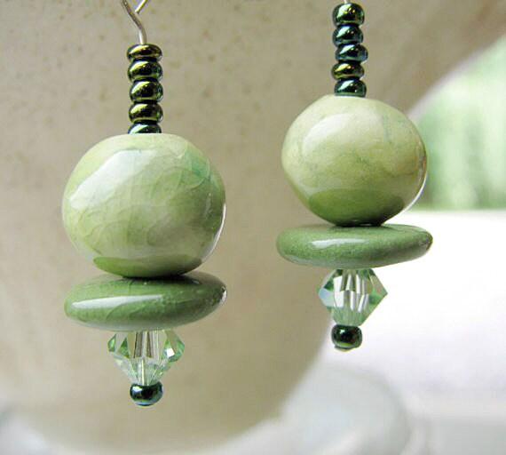 Green Sparkle Earrings Handmade Beads