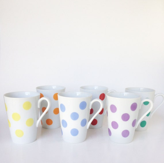 Polka Dot Vintage Mugs | Etsy