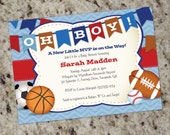 Oh Boy! Little All-Star MVP Sports-Themed Baby Shower Invitations - Print Your Own - BAB14