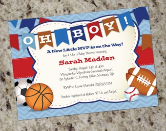 boy baby shower invitations sport  etsy, Baby shower invitations
