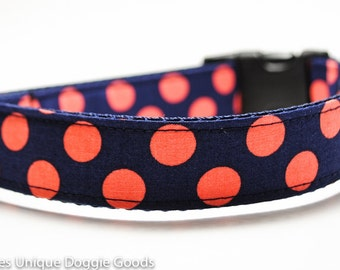 Coral Navy Polka Dots Dog Collar