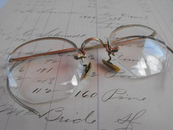 Frameless Vintage Glasses : Vintage Frameless Eye Glasses with Case Very Old by ...