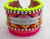 Bohemian Soul bracelet, inspirational neon cuff, hippie rhinestone cuff,  hand stamped tag bracelet, gypsy, boho chic, neon, Pom Pom