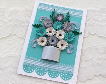 Card- Paper Quilling  -Paper Quilled -Birthday- Congratulations -Wedding -thinking of You- Silver Pot -Turquoise-Flowers-Handmade  Australia