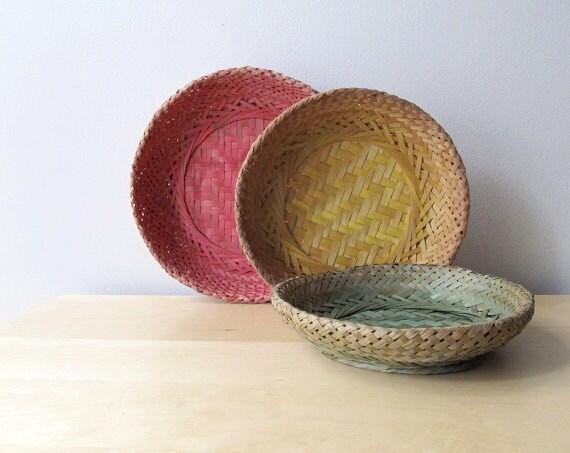 nesting straw baskets vintage wicker basket plate holder summer picnic