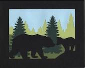 Mama Bear and Cub Paper Cut Art Silhouette Wall Art trees green black nature animals 10X8 Unframed