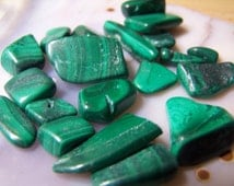 Malachite - tumbled polished - green Malachite stone - chips - small pieces - single or lot - crystal wire wrap supply - striped