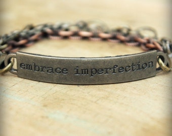 """2pc Indie Inspirational Quote Interchangeable Bracelet ... """"Embrace imperfection"""""""