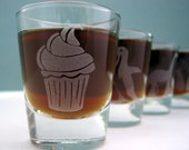 Cupcake Single Sandblast Etched Shot Glass