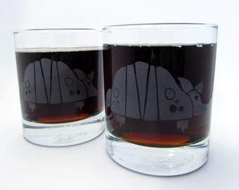 Texas Armadillo | Etched Old Fashioned Cocktail Glass