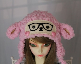 Pink Lamb Hat for SD BJD, 1/3 Doll, Sheep Hat