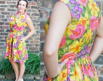 Vintage 60's Bright Summer Dress - Small / Medium, Floral, Yellow, Pink, Purple Day Dress