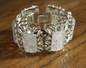Vintage Cuff Bracelet White Lucite Gold Tone Flecks
