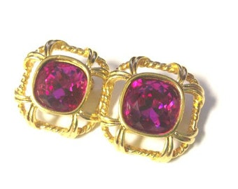 spectacular vintage 80s swarovski america limited  fuschia and gold rhinestone earrings