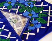 Vintage Cobalt Blue Floral and Lattice pattern Irish Linen Placemat Pair