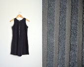vintage '80s black SHEER STRIPED TERRY cloth sleeveless zip-front romper. size m.
